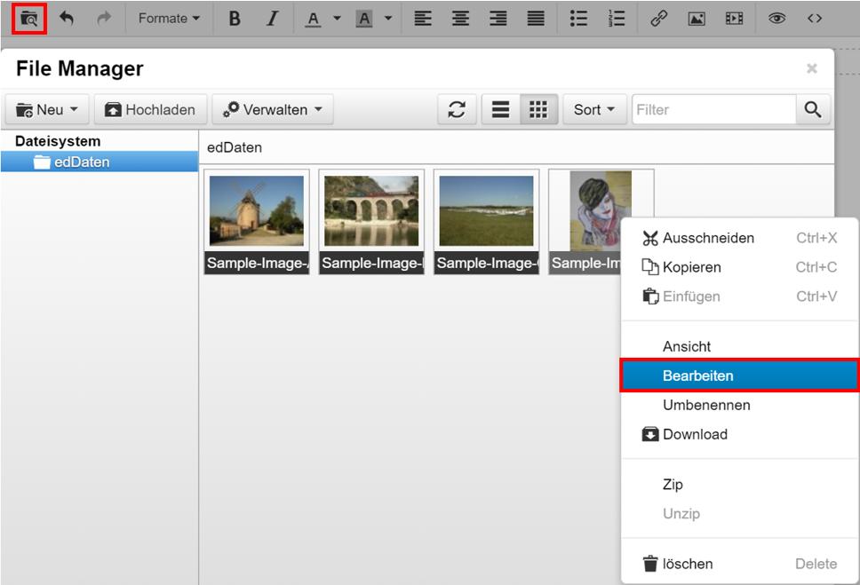 Ein Bild im File Manager bearbeiten