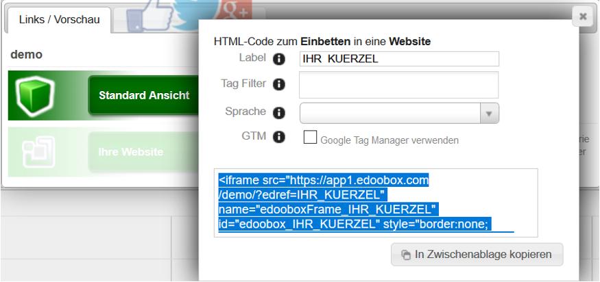 iFrame Code in die Zwischenablage kopieren