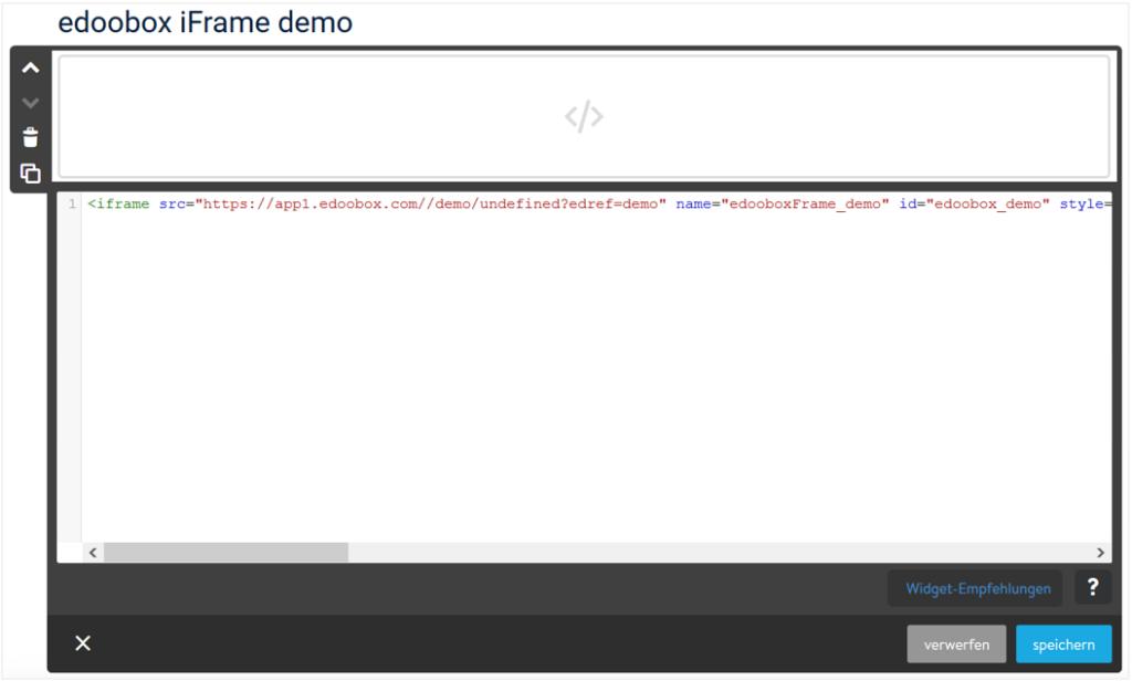 iFrame Code von edoobox auf Jimdo einfügen