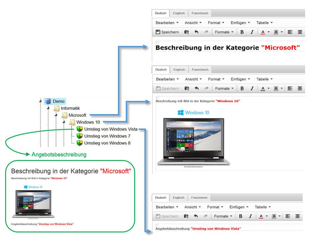 Beispiel Kategorie und Angebots-Beschreibung