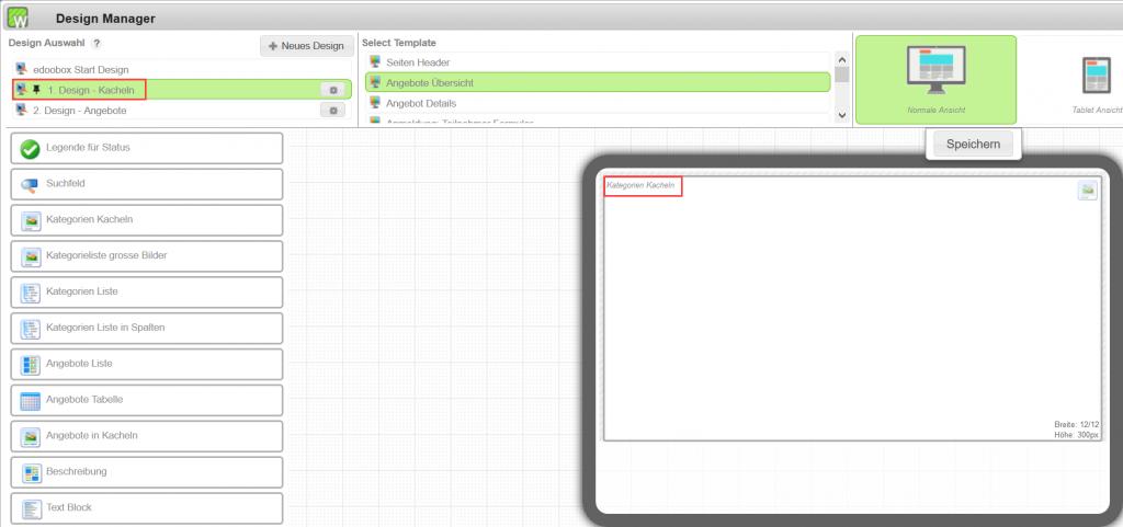 Im 1. Design (Standard festlegen) nur das Widget Kategorien Kacheln einfügen.