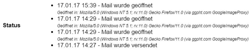 Status der Mail