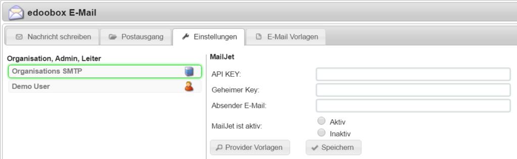 So sieht es vor der Hinterlegung vom MailJet Konto aus.