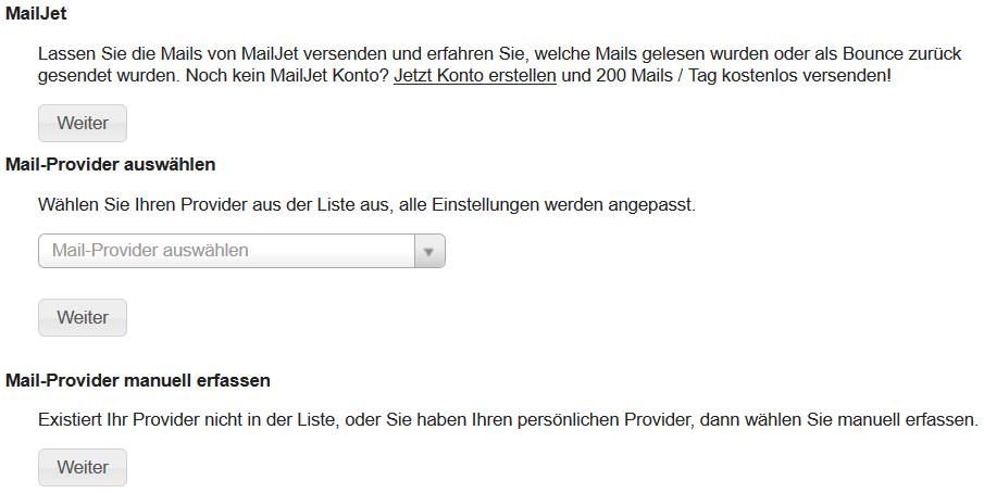 SMTP-einrichten, MailJet einrichten