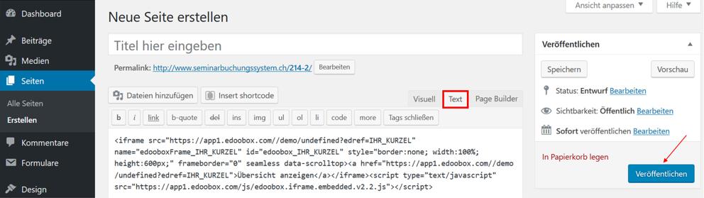 """iFrame Code auf WordPress unter """"Text"""" einfügen"""