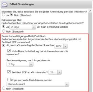 Einstellungen zum Besuchsbestätigungs-Mail mit oder ohne Zertifikat