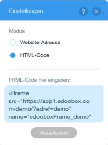 Code einfügen und aktualisieren