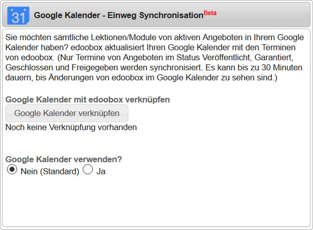 Google Kalender - Einweg Synchronisation