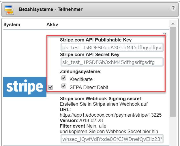 Stripe API Key hinterlegen