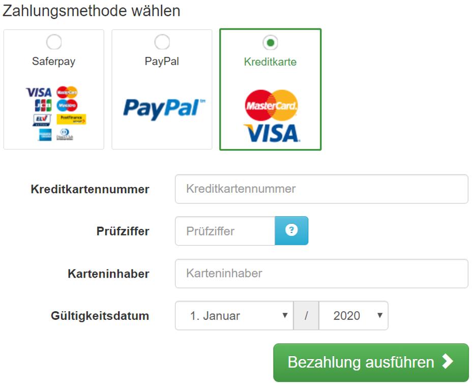 Die Kreditkarten Angaben können direkt auf der Payment Seite in edoobox eingegeben werden.
