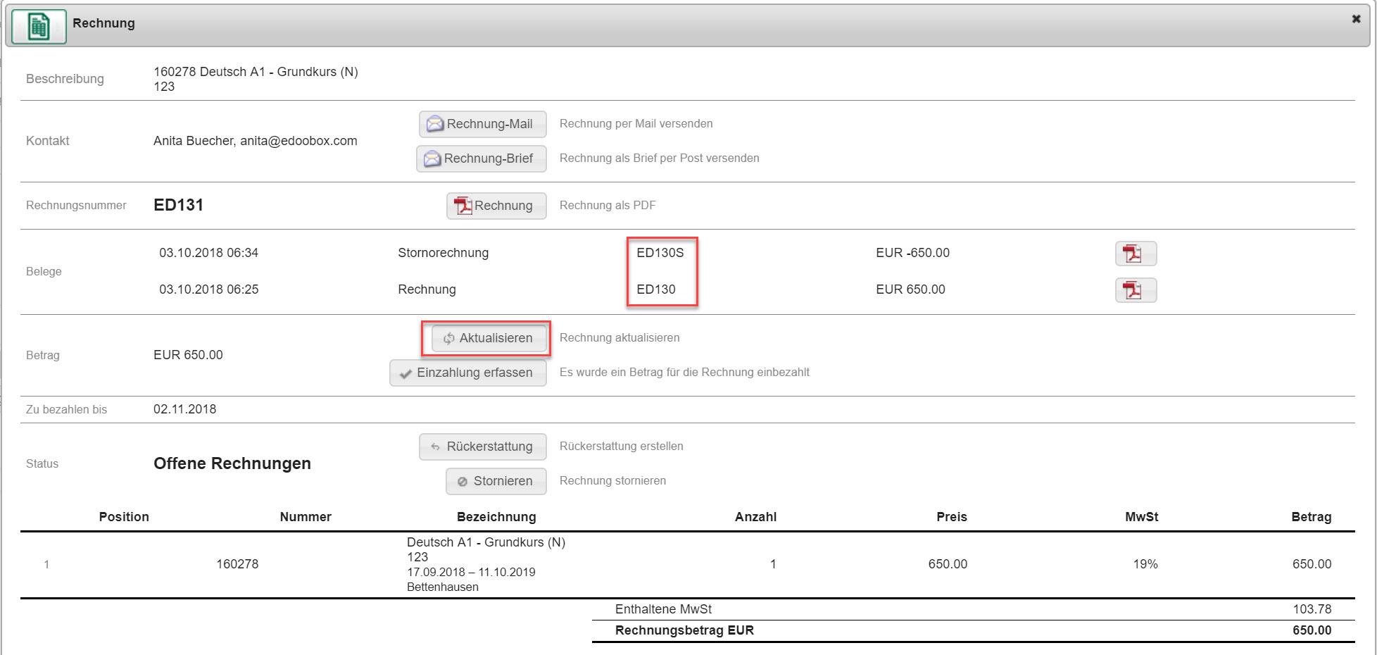 Rechnungen Und Stornorechnung Erstellen Edoobox Dokumentation